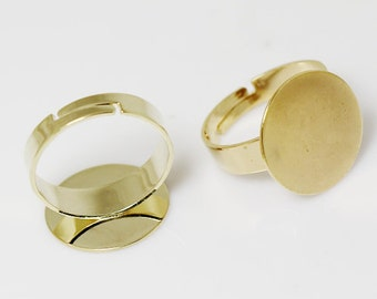 Blank Ring Findings with 16mm Round Pad Adjustable Ring Bases Blanks Real-Gold Plated ID 24278