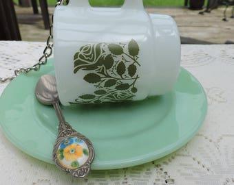 Bird Feeder 'Coffee Time' Garden Art Vintage Green Fire King Jadeite Mug