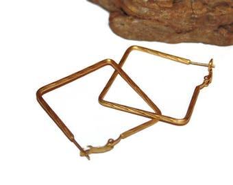Square Hoop Earrings, Gold Toned Metal Square Hoops, Unique Hoops, Vintage Jewelry, Geometric Jewelry, Geometric Earrings, Matte Gold