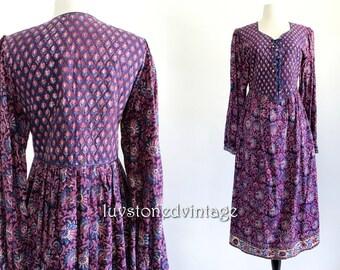 Vintage Indian Dress 70s Purple Boho Hippie Cotton Gypsy Festival Midi Dress . XS . SM . 838.6.10.14
