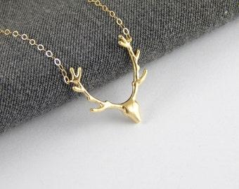 Gold deer necklace, reindeer necklace, trophy necklace, statement necklace, minimalist gift for her, v necklace, 290