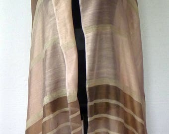 Vintage Silk Semi SHEER Light Shawl Wrap Stole Scarf Block Stripe Golden Beige and Taupe Cambodia Very Fine