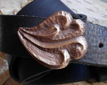 Hand carved bronze belt buckle, unique handmade, one of a kind sand casting, fits blue jeans or dress up, mens gift, or womens belt, spring