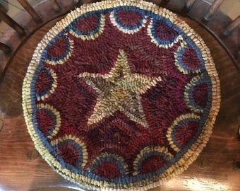 Primitive Rug Hooked Chair Pad