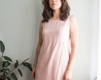 Dusty Rose Linen Dress / Pink Wrap Dress / 90s Column Dress / Women's Vintage Clothing