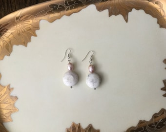 Pink Pearl and Stone Earrings