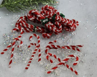 Bunch Vintage Miniature Chenille Candy Canes
