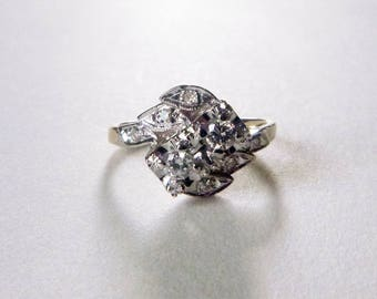 Mid-Century Retro 14k two tone gold diamond bypass engagement ring .26 TCW 1950s size 6.5