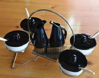 MCM Rotating Condiment set / black and white / USA Pottery with punched metal rotating caddy