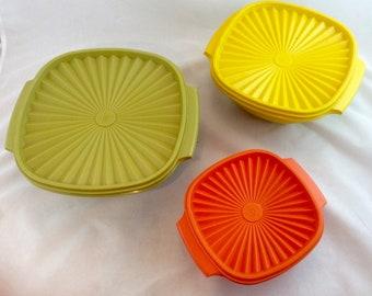 Vintage Tupperware Harvest Servalier Bowls and Lids x 3, Tupperware Harvest Colored Storage Bowls