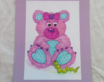 "Original drawing ""Ready-to-frame"" Teddy bear pink"