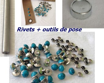 Tools laying + Rivet mushroom Stud silver blue turquoise 8mm x 9mm cone round dome for customization