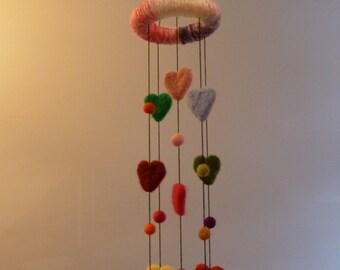 Nursery decoration, heart mobile, baby shower, needle felted hearts, hearts hanger, bedroom decoration, hanging decoration, baby mobile,