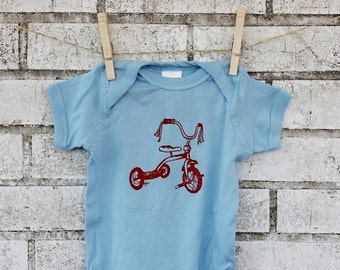 Tricycle Baby Onepiece Bodysuit, Hand Printed Screenprint Shirt, Sort Sleeved Light Blue, Baby Boy, Infant Clothing, Cotton, Shower Gift