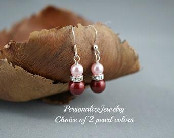 Wedding earrings, Bridal party gifts, Attendee jewelry, Simple pearl earrings, Bridesmaid earrings, Swarovski pearls, White blue earrings