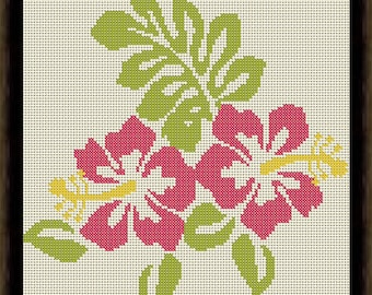 Hibiscus Cross Stitch Pattern PDF Instant Download