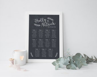 Printed Customisable Chalkboard Wedding Table Plan. Seating Chart For Weddings - Two Sizes Available.