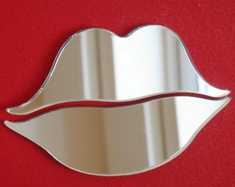 Lips Shaped Mirrors - 5 Sizes Available. Choose from Colour Mirrored Options, Pink, Red, Gold or Silver