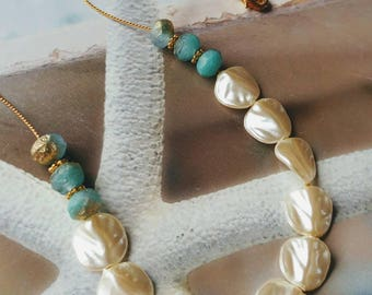 Aqua & Vintage White Pearlizied Beads Necklace/Gift For Her