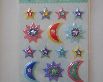 """Sheet of 18 stickers - """"Stars and Moons"""" 3D stickers / multicolor / child activity - collage - Scrapbooking"""