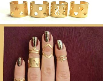 Gold stacking rings, Knuckle ring, Band ring, Tube ring, Gold midi rings, Custom jewelry, Stacking Rings, Four band ring,  Stackable rings.