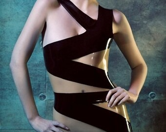 Latex Rubber Bandage dress in Black and translucent natural Lingerie