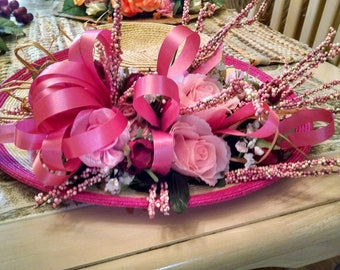 Pink Rose Decorated Hat.