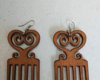 Brown Duafe Adinkra African Wooden Earrings Wholesale/ Earrings/ Hand Made Earrings/Women's Earrings/ Afrocentric Earrings