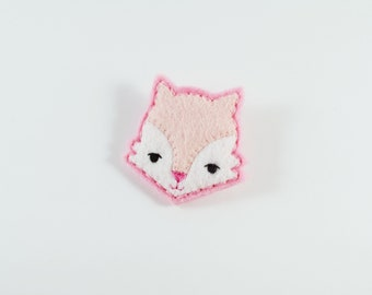 Happy Fox Felt Brooch / Pink Fox Pin / Pink Blush Felt Fox Brooch / Whimsical Fox Brooch/ Pink Fox Felt Brooch / Animal Lover Brooch