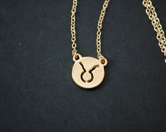 Gold plated taurus astrology necklace