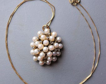 Vintage Retro 1970s PGDA Stamped 10K Gold Chain with Pearl Crystal Cluster Charm Necklace