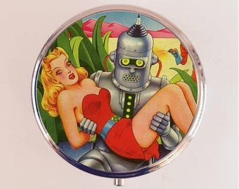 Robot Comic Pill Box Case Pillbox Holder Trinket Box Romance Pulp Fiction Sci Fi Science Fiction