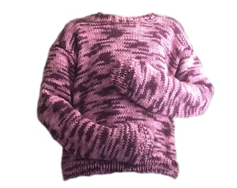 Handmade knitted red wine and pink sweater