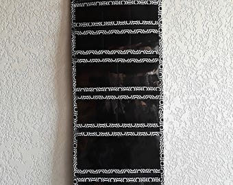 Extra Large Travel Jewelry Organizer Roll Quilted in Black and White Hexagon print with Black lining