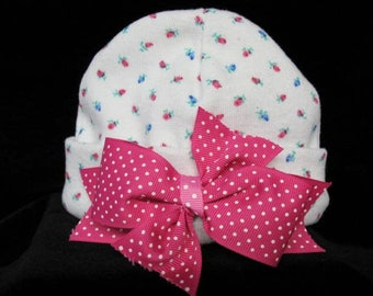 Newborn  Blue / Pink / Rose Bud Beanie / Hat  With Pink & White Dot  Bow Made And Ready To Ship