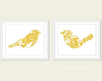 Birds Art Prints  - Yellow Floral Modern Birds Wall Art - Wedding Gift - Master Bedroom Decor - His and Hers - Yellow and White