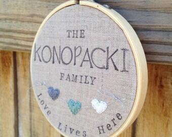 Sale- custom family name hoop love lives here