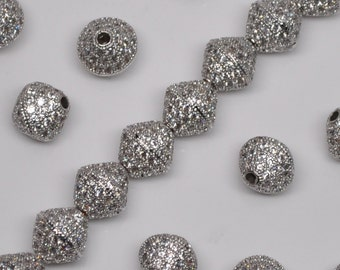 Platinum Plated Micro Pavé Set Bicone Cubic Zirconia Beads 10 X 10 mm 2, 5 or 10 Pieces