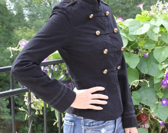 Officer style jacket, officer blazer, gold buttons, officer jacket, fitted blaser, black officer coat, size small, size 6 US
