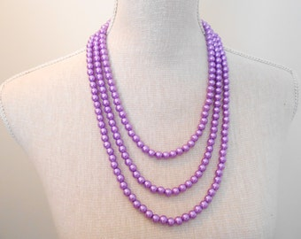Purple pearl necklace, tree strand, wedding necklace, magnetic clasp, purple wedding, jewelry for wife, mother of the groom, chunky necklace