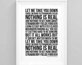 The Beatles Strawberry Fields Forever Lyrics Poster Print Artwork