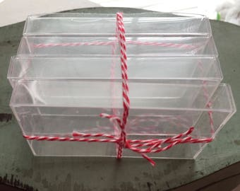 Small Clear Plastic Boxes, 3-3/4 X 2-1/4 X 1/2, Set of 4, Small Gift Boxes, Miniature, Storage Boxes, Clear Box With Lid
