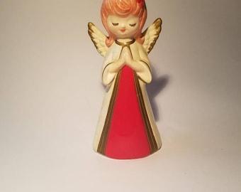 "Praying Homco Christmas Angel Bright Red 6.5"" Tall Retro Style Angel"