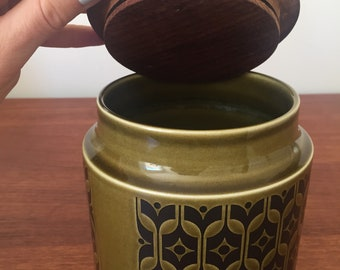 Vintage Hornsea Heirloom Pattern Sugar Jar/Kitchen Storage Canister with Teak Lid - Retro Kitchenalia
