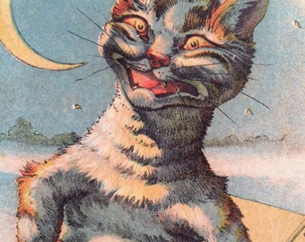 Antique Trade Card with Cat