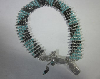 Kerri Linden Turquoise and Granite Sterling Silver Bracelet