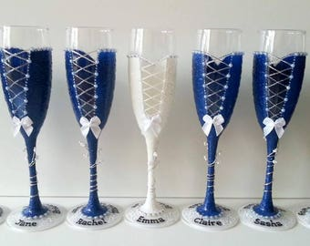 Personalised Bridesmaids Champagne Flutes, bridesmaids gifts, bridesmaids thank you gifts, bridesmaids glasses, personalised bridesmaid gift