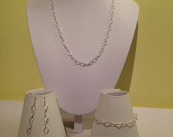 Sterling Silver Fancy Link Necklace, Bracelet and Earring Set