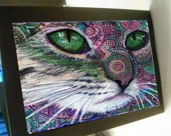 greeting card print of original art-  cat rosy green Zentangle spirit animal