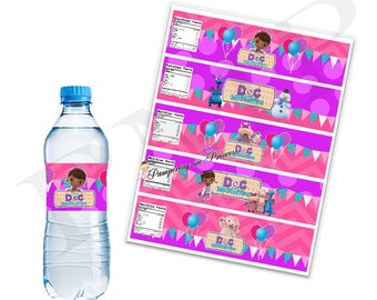 Doc McStuffins Water Labels, Doc McStuffins Birthday Party, Battle labels, Water Battle Label Printable, You Print Labels